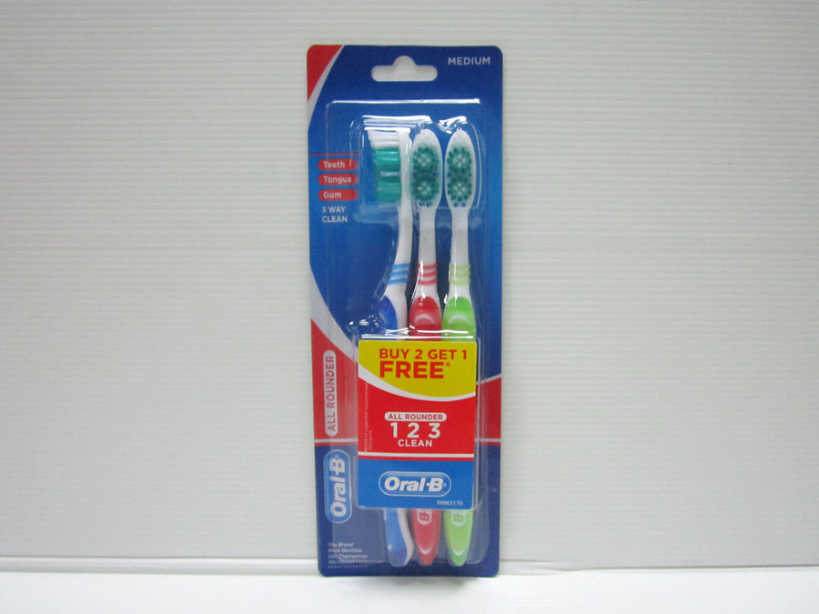 Oral-B All Rounder 123 Clean Medium 3's